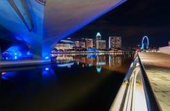 Under bridge at night. This urban view near marina bay singapore Stock Photos