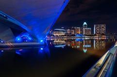 Under bridge at night. This urban view near marina bay singapore Royalty Free Stock Photos