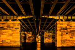 Under a bridge at night, in Washington, DC. Stock Images