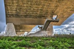 Under the bridge in Nijmegen stock photography