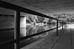 Under the bridge. This photo is situated under the bridge near castle Veveří. Czech Republic Royalty Free Stock Photos