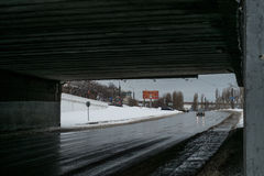 Under the bridge. Under the public bridge in Russia Royalty Free Stock Photo