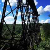 Under the bridge 2. Trail down under the kinzua viaduct lookout in the alleghany national Stock Photo