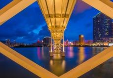 Under The Bridge. Twilight cityscape of bridge and skyscraper Macao Stock Photography