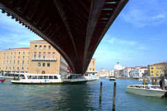 Under the bridge in Venice Royalty Free Stock Images