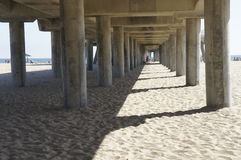 Under the Bridge. A view of a long bridge under with  lots of posts that supports the entire bridge Stock Photography