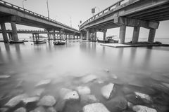 Under a bridge view in Penang Malaysia in black and white Royalty Free Stock Photos