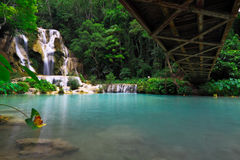Under bridge and view of Tad Kuang Si waterfall,Lao Royalty Free Stock Photography