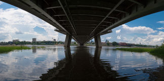 Under the bridge, Warsaw. This is panoramic photo made under the Świętokrzyski bridge in Warsaw, Poland Royalty Free Stock Image