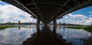 Under the bridge, Warsaw. This is panoramic photo made under the Świętokrzyski bridge in Warsaw, Poland Royalty Free Stock Image