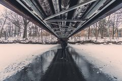 Under the bridge during winter Royalty Free Stock Photos