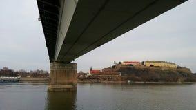 Under bron Novi Sad Arkivbild
