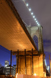 Under the Brooklyn Bridge. On the Brooklyn side Royalty Free Stock Image