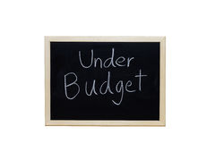 Under Budget written with white chalk on blackboard Royalty Free Stock Images