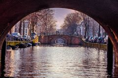 Under canal bridge, Amsterdam, Netherlands Royalty Free Stock Images