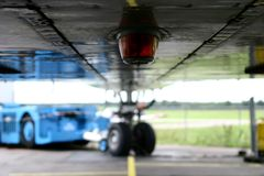 Under-cart of an airplane. Close-up of the landing gear of a dutch Boeing 747 Jumbo jet passenger aeroplane Stock Photos