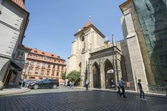 Church of the Virgin Mary in Prague. The  under Chain in Prague, Czech Republic Royalty Free Stock Images