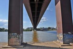 Under the city bridge stock photo