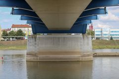 Below the city bridge of Frankfurt Oder, Brandenburg, Germany royalty free stock photography