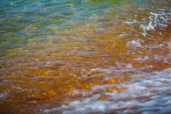 Under the clear sea water visible stones royalty free stock photo