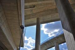 Under concrete bridge Royalty Free Stock Photo