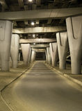 Under concrete road bridge Royalty Free Stock Photography