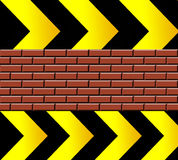 Under construccion. Black  and yellow  arrows with bricks. abstract illustration Stock Photography