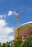 Under Constructio Building. High Building Under Construction with Crane Royalty Free Stock Image