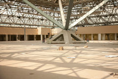 Under construction. Reconstruction pavilion in Moscow's International Exhibition Center stock image