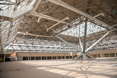 Under construction. Reconstruction pavilion in Moscow's International Exhibition Center royalty free stock photo