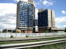 Under construction. Driving by unfinished building, sofia, bulgaria royalty free stock photo
