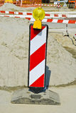 Under construction. Road signs and barrier Royalty Free Stock Images