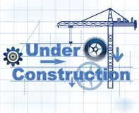 Under Construction. Text Under Construction,  with gears grid and crane - great for a web page under construction Royalty Free Stock Image
