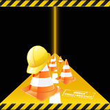 Under construction. Vector traffic cones with safety helmet. Under construction