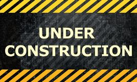 Under construction. Grey yellow black background royalty free illustration