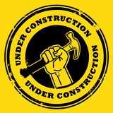 Under construction. Grunge rubber stamp with the hand holding a hammer and the words under construction written inside stock illustration