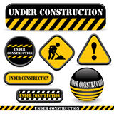 Under construction. Signs isolated on white Royalty Free Stock Photo
