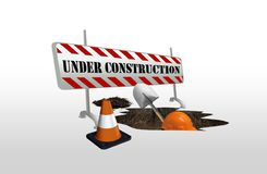 Under Construction. Image of under construction with man digging a hole Stock Photos