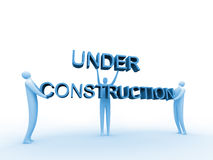 Under construction #2. 3d people holding an 'under construction' sign vector illustration