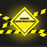 Under construction. Warning sign: under construction advice Royalty Free Stock Photography