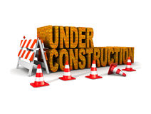 Under construction!. With traffic cones isolated on a white background Royalty Free Stock Photo