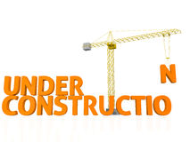 Under construction. 3D render of the words under construction being assembled by a tower crane Stock Photos