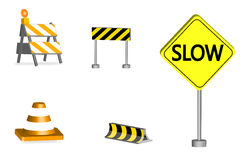 Under construction. Set of road construction instruments Royalty Free Stock Image