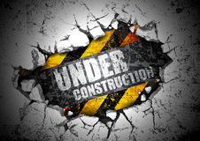 Under construction. Industrial background with the inscription on the under construction Stock Photo