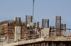 Under construction. Circular building under construction in sunny day Stock Photos