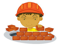 Under construction. Boy on white background Royalty Free Stock Images