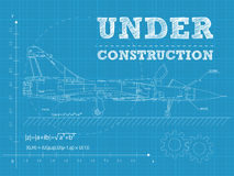 Under construction. Vector illustration of under construction text on a blueprint paper with airplane Royalty Free Stock Photos