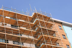 Under Construction. Detail of construction site building a modern apartment block Royalty Free Stock Photos