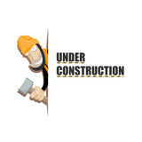 Under construction. Lettering Under Construction with cartoonish image of worker with big hammer Royalty Free Stock Photos