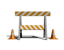 Under construction. Isolated construction and caution sign with traffic cones - 3d illustration Royalty Free Stock Photo
